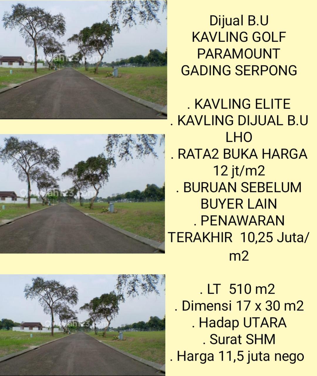 KAVLING EXCLUSIVE 510 M2 SHM SIAP BANGUN DIJUAL B.U